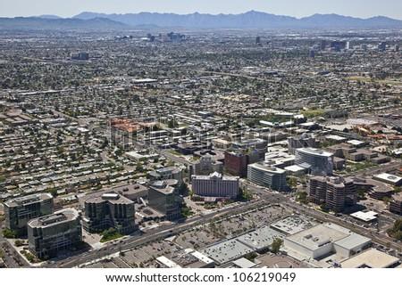 Desert Southwest skyline of Phoenix, Arizona - stock photo