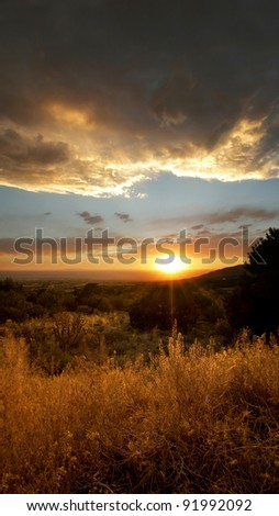 Desert Sunset right outside of Albuquerque, New Mexico - stock photo