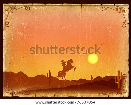 Desert Sunset with Cactus in sunset on old vintage paper background - stock photo