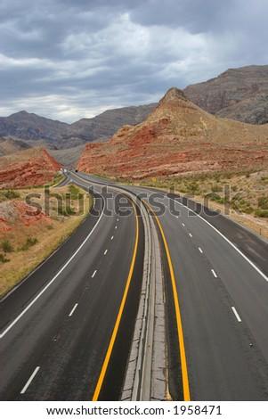 Desert super highway - stock photo