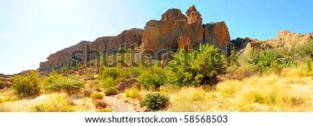 Desert trail panorama in the summer Arizona desert. - stock photo