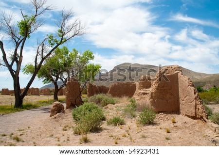 desert trees and adobe ruins of Fort Selden