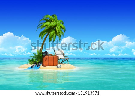 Desert tropical island with palm tree, chaise lounge, suitcase.  Concept for rest, holidays, resort, travel. - stock photo