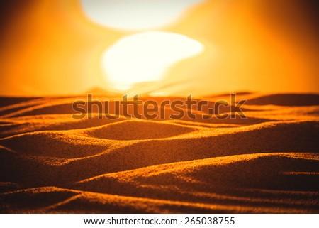 Desert under sunset concept - stock photo