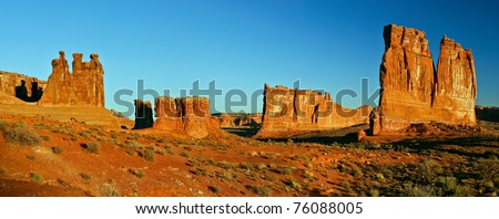 Desert valley in Utah at sunrise. - stock photo