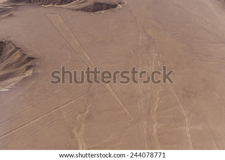 Desert View Nazca bird's-eye view. Wonderful geoglyphs and lines of the ancient Incas. - stock photo