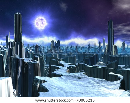 Deserted Alien City with Dying Sun - stock photo