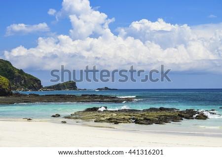 Deserted beach at Lombok island.Indonesia. - stock photo