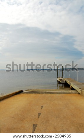 Deserted Boat Ramp - stock photo