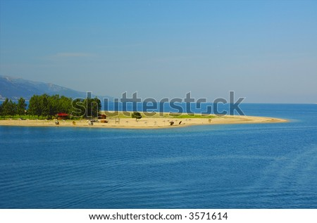 Deserted cafe on the small island - stock photo