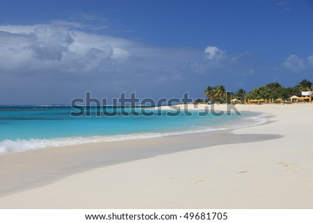 Deserted clean sandy beach on Anguilla, Caribbean - stock photo