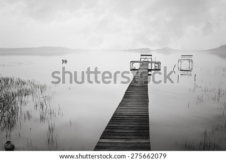 Deserted fishing board on Lake Balaton in Hungary - stock photo