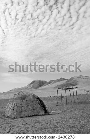 Deserted Himba Hut - stock photo