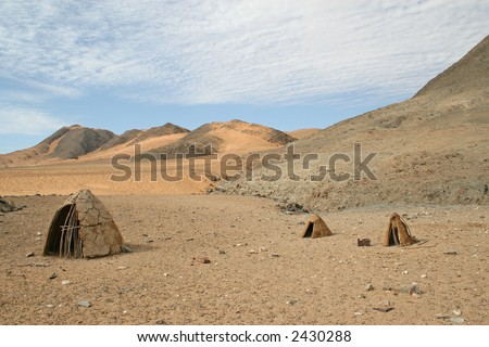 Deserted Himba Huts - stock photo