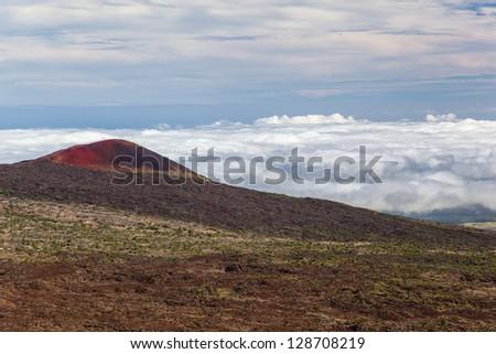 Deserted landscape of Mauna Kea mountain, Big Island, Hawaii - stock photo