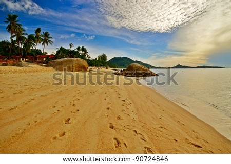 Deserted morning beach with golden sand and footprints - stock photo