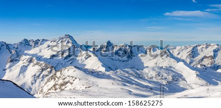 Deserted morning mountain landscape, Les Deux Alpes, France - stock photo