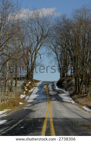 Deserted road, Lancaster, Pennsylvania (Amish County) - stock photo