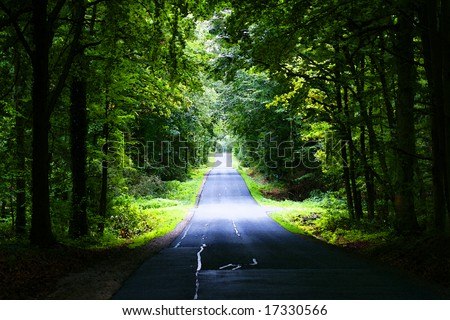 deserted rural country road - stock photo