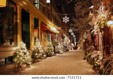 Deserted street in Quebec City decorated for Christmas - stock photo