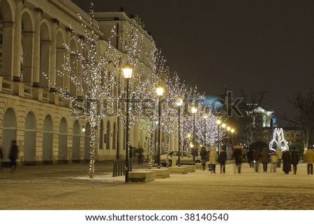 Deserted street in Warsaw City decorated for Christmas - stock photo