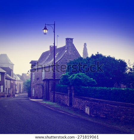 Deserted Street of the French City at Misty Morning, Instagram Effect  - stock photo