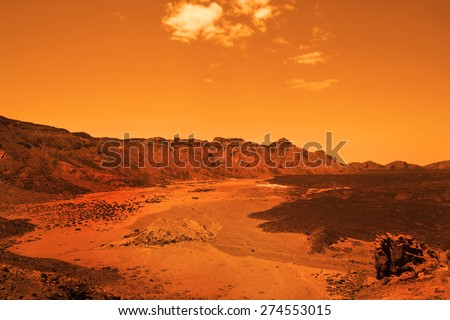 Deserted terrestial planet in orange colors - stock photo
