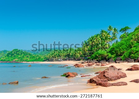 deserted tropical beach on a sunny day - stock photo