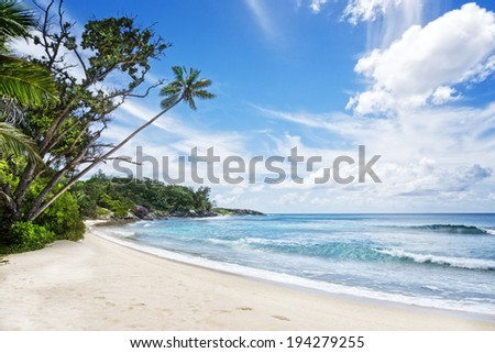 Deserted tropical beach , Silhouette island, Seychelles, Africa - stock photo