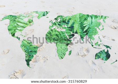 desertification and environmental awareness: world with sand instead of oceans
