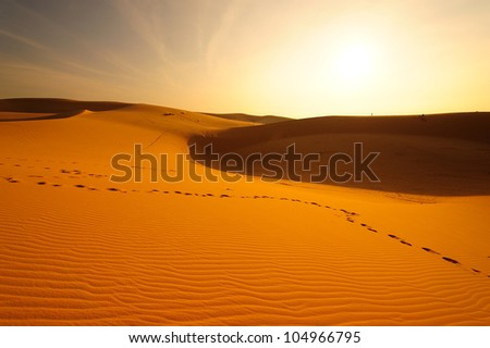 Deserts and Sand Dunes Landscape at Sunrise  - stock photo