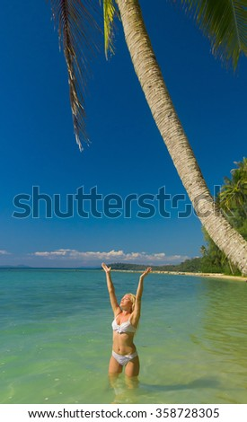 Deserved Relaxation On a Tropical Beach  - stock photo