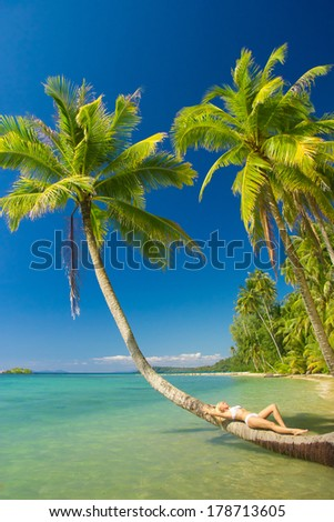 Deserved Relaxation Under Palm  - stock photo