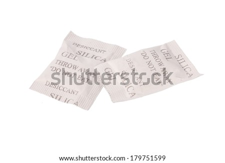 desiccant silica gel bag isolated on white