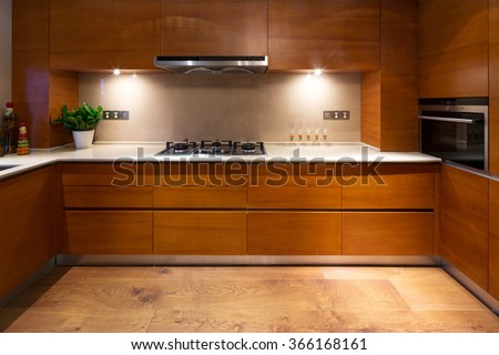design and appliance in luxury kitchen - stock photo