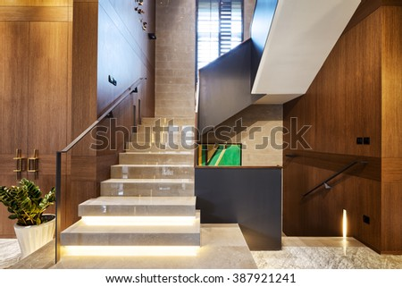 design and decoraton in modern staircase - stock photo