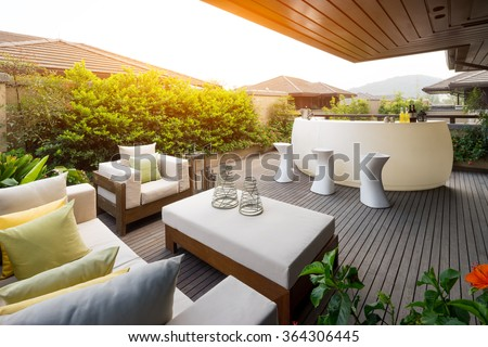 design and furniture in modern patio - stock photo