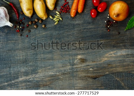 Design background with vegetables and space for text. Healthy food from garden. - stock photo