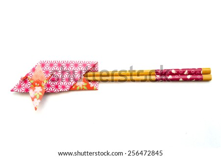 Design Chopsticks Bag Japan / A chopsticks bag decorated with a crane used in Japanese ceremonies such a wedding and New Year party. - stock photo