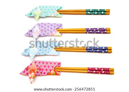 Design Chopsticks BagsJapan / A chopsticks bag decorated with a crane used in Japanese ceremonies such a wedding and New Year party. - stock photo