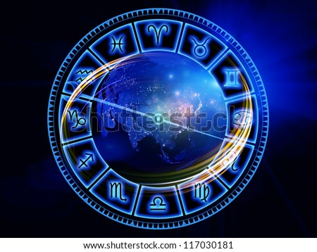 Design composed of dial symbols, shapes and abstract design elements as a metaphor on the subject of astrology, destiny, fate, horoscope, future and the occult