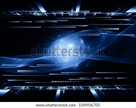Design composed of fractal grids, lights  and technological elements as a metaphor on the subject of science, computing and modern technologies