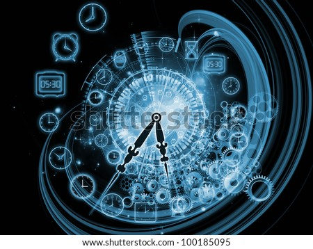 Design composed of gears, clock elements and abstract design elements as a metaphor on the subject of scheduling, temporal and time related processes, deadlines, progress, past, present and future - stock photo