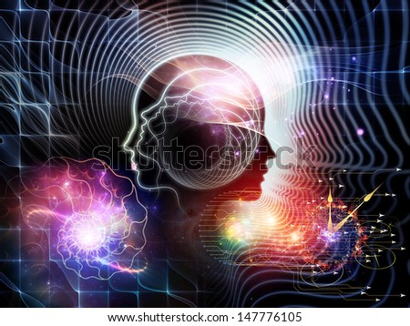 Design composed of human feature lines and symbolic elements as a metaphor on the subject of human mind, consciousness, imagination, science and creativity