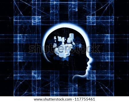 Design composed of human head and fractal grids as a metaphor on the subject of science, technology and intelligent life in the Universe