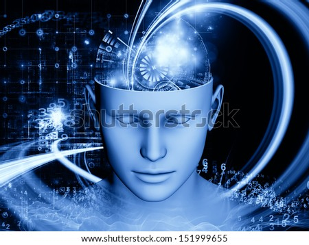 Design composed of human head and symbolic elements as a metaphor on the subject of human mind, consciousness, imagination, science and creativity