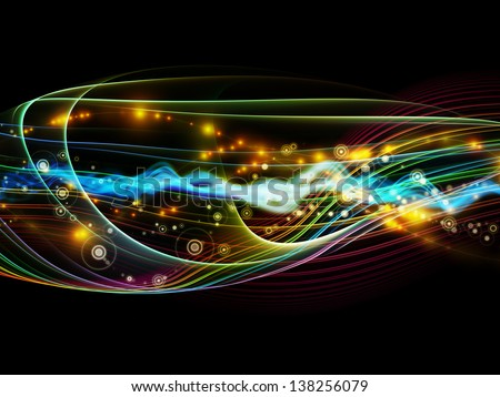 Design composed of lights, fractal and custom design elements as a metaphor on the subject of network, technology and motion