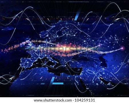 Design composed of lights, numbers, grids and satellite imagery (courtesy of NASA) as a metaphor on the subject of science, global computing and communication technologies - stock photo
