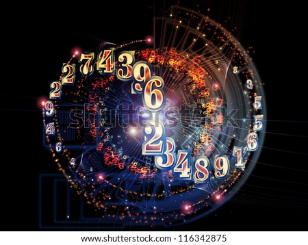 Design composed of numbers, documents and design elements as a metaphor on the subject of document processing, computers, science and modern technologies