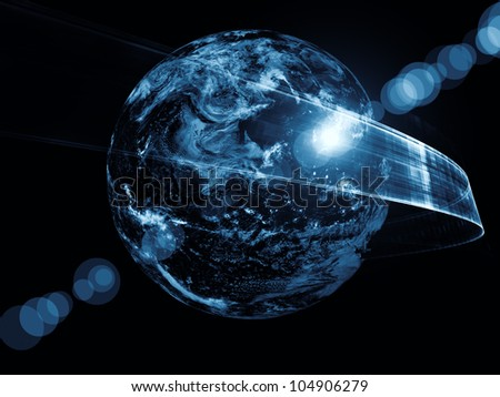 Design composed of satellite imagery (courtesy of NASA) and abstract design elements as a metaphor on the subject of Internet, global communications and information technologies - stock photo